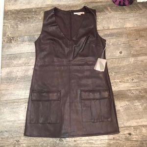 Plum faux leather shift dress